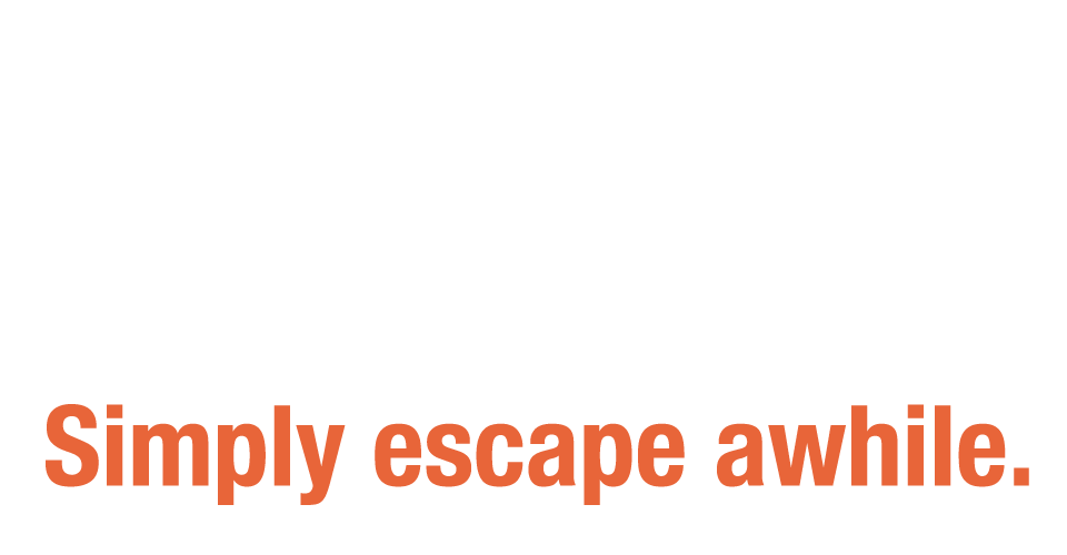 """freeFall logo with tagline """"Simply escape awhile."""""""